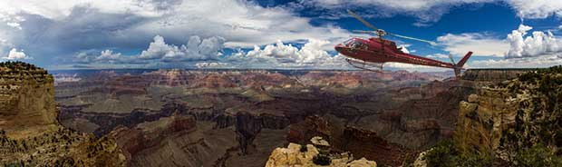 A flying helicopter on a tour to Grand Canyon.