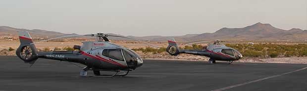 Helicopters on the gound in Las Vegas ready to go to Grand Canyon.